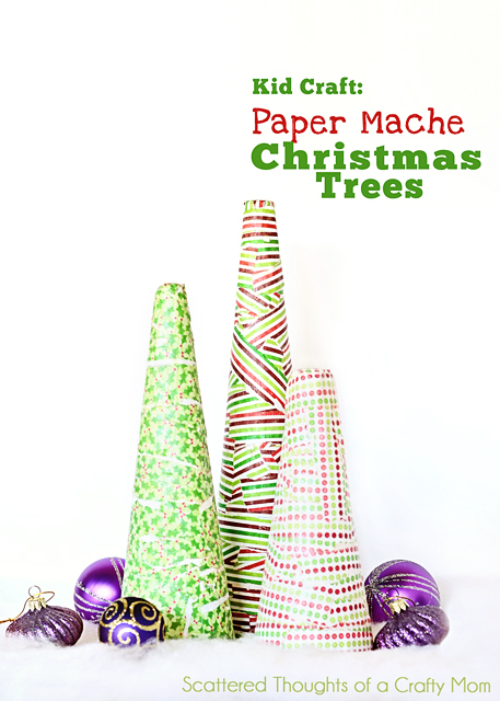 Top 25 crafty christmas trees for Paper mache christmas