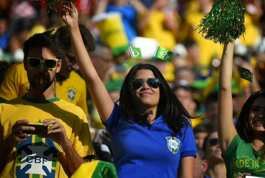 Brazilian Supporter in World Cup Ceremony 2014