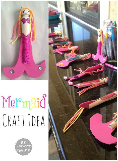 DIY Ocean Themed Birthday Party Decorations including a Mermaid Craft Idea