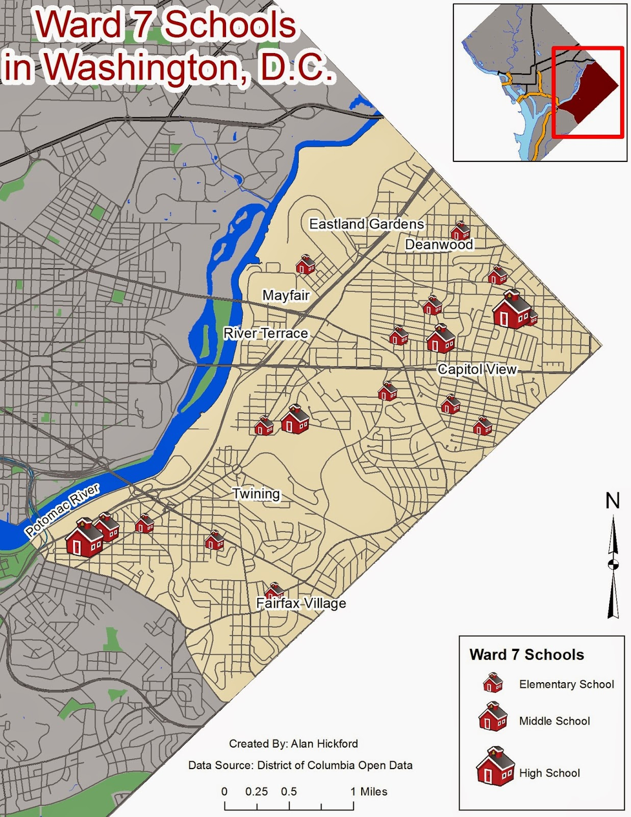 i used a gray color to deemphasize the rest of the city and a beige color to show ward 7 more clearly i used different sizes of school symbols to show the