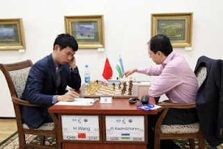 Échecs : Hao Wang (2737) 0-1 Rustam Kasimdzhanov (2696) lors de la ronde 5