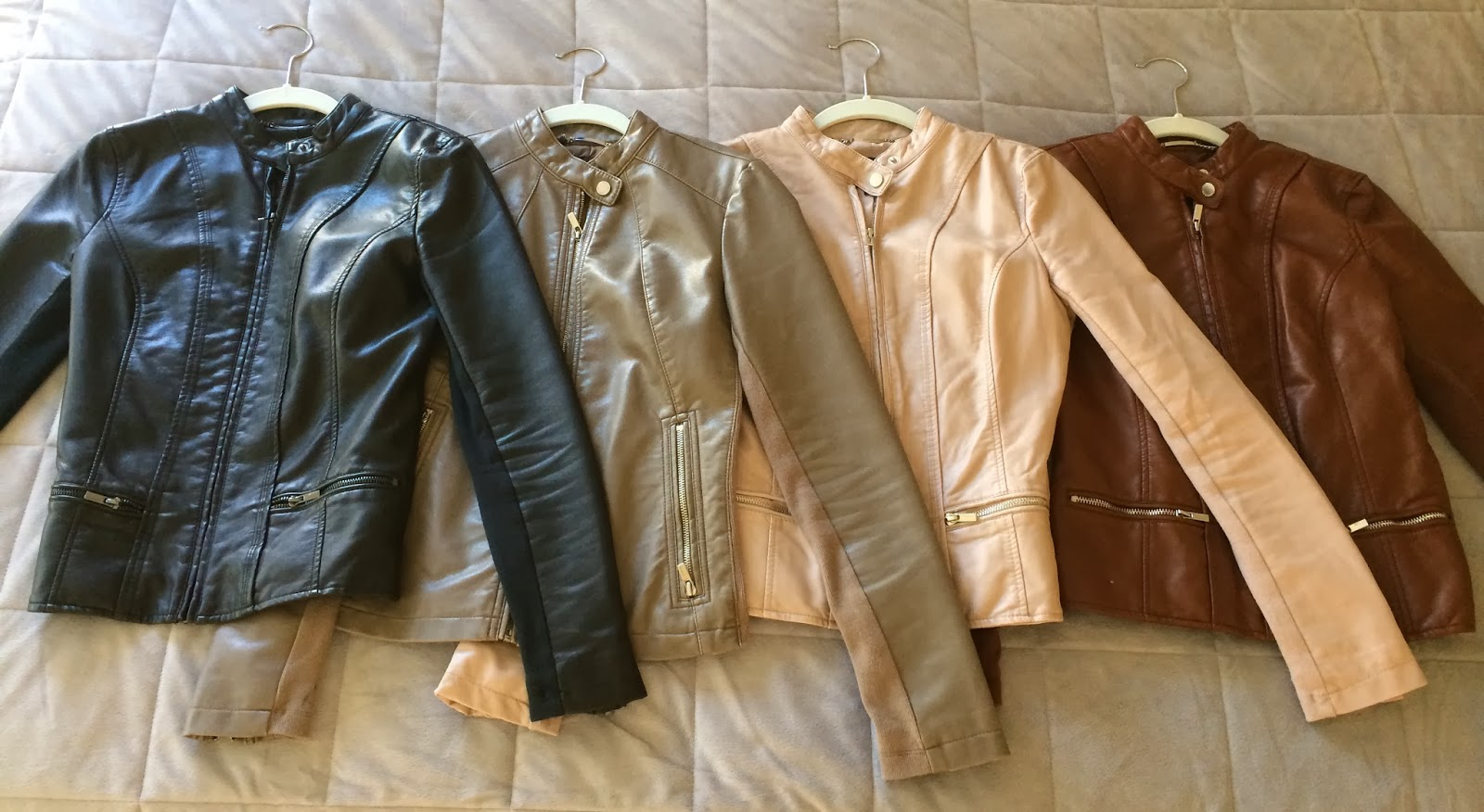 express (minus the) leather moto jacket, double peplum, black cognac, grey, champagne