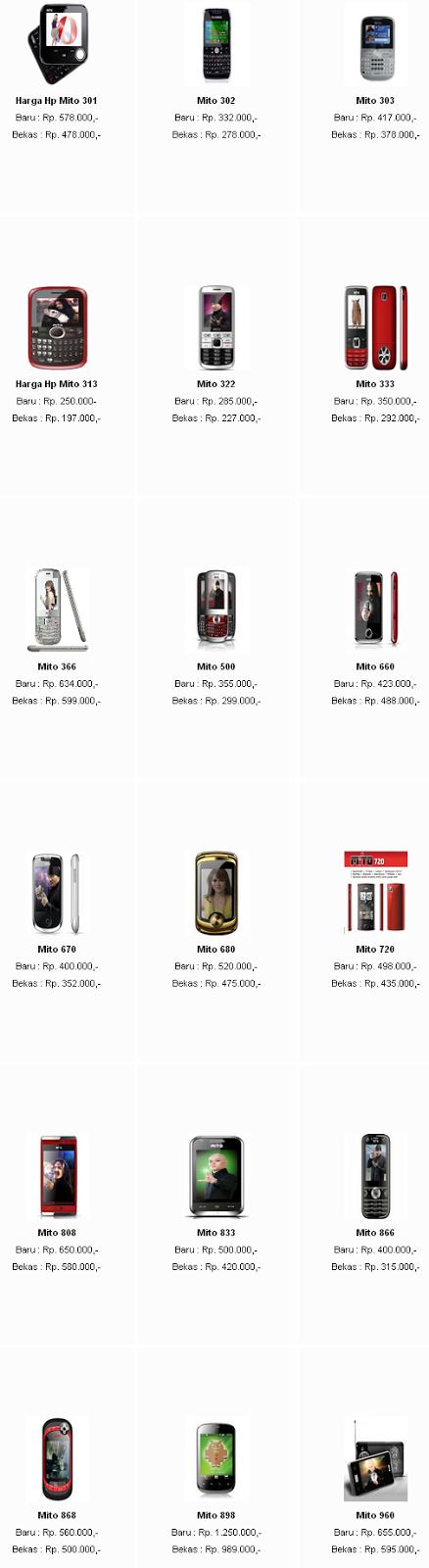 Harga hape MITO Lengkap Terbaru 2013
