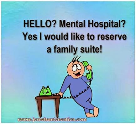 cute character calling mental hospital joke
