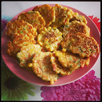 Plate of Corn Fritters - National Corn Fritters Day