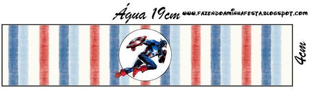 Etiquetas para botellas de agua personalizadas de Capitán América