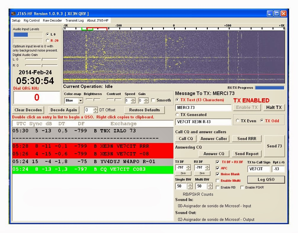 QSO en JT65-HF en la Banda de 30m