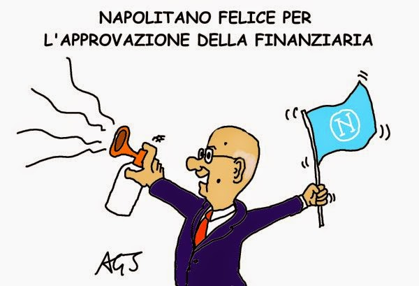 Napolitano, Napoli, Juventus, legge stabilità, satira, vignetta