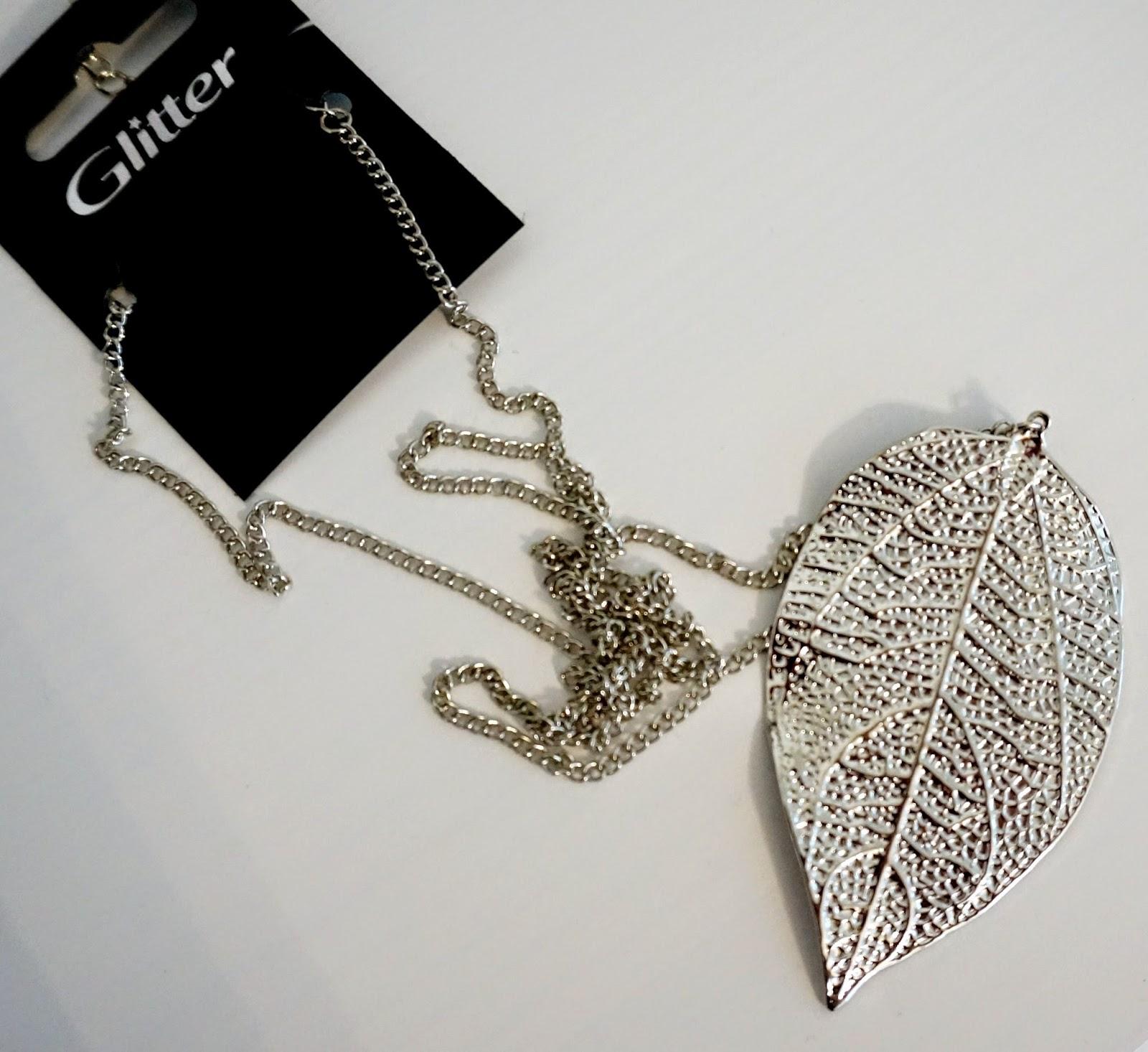 long leaf necklace silver