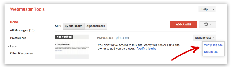 verify site dashboard