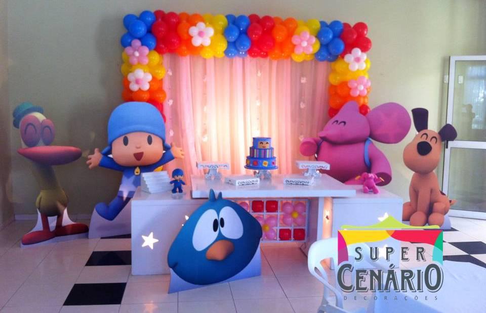 Decoração Com Voal ~ SUPER CENÁRIO Decoraç u00e3o Personalizada Pocoyo com Cortina Voil