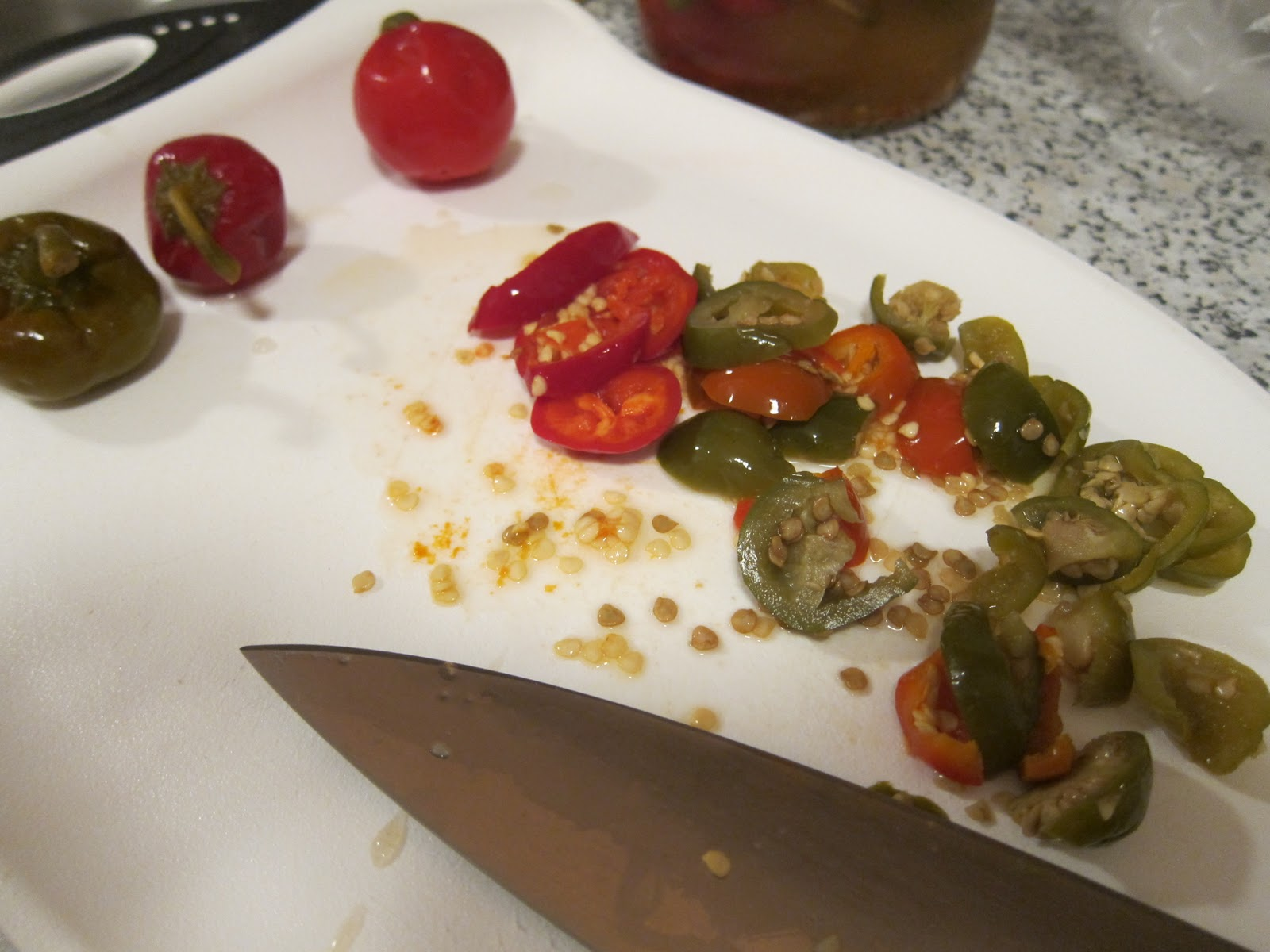 Slicing The Cherry Peppers Hot Stuff!