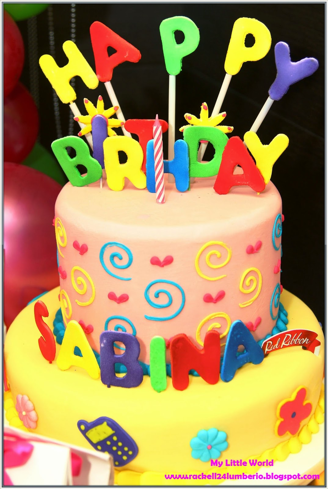Customized Cake In Red Ribbon : Rhian s 1st Birthday Party Event My Little World by ...