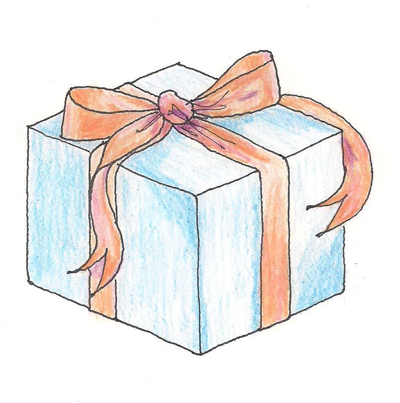Коробка с подарком нарисованная 85