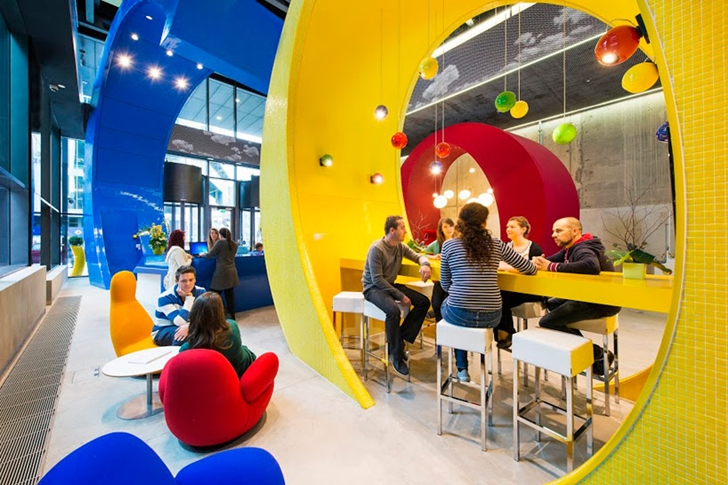 Lobby coffee shop in Google office in Dublin