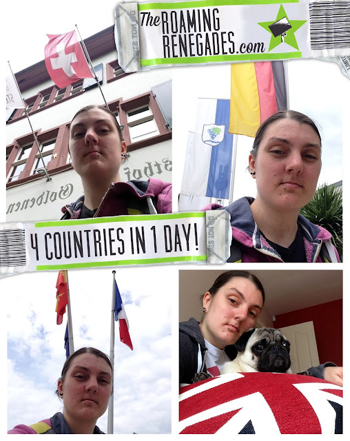 4 countries, how many countries in one day, Germany, Switzerland, England, France, borders, basel, weil am Rhine, Baden Württemberg, Dreiländerbrücke, Huningue, La passerelle des Trois Pays, flags, border crossing, Alsace, travel,