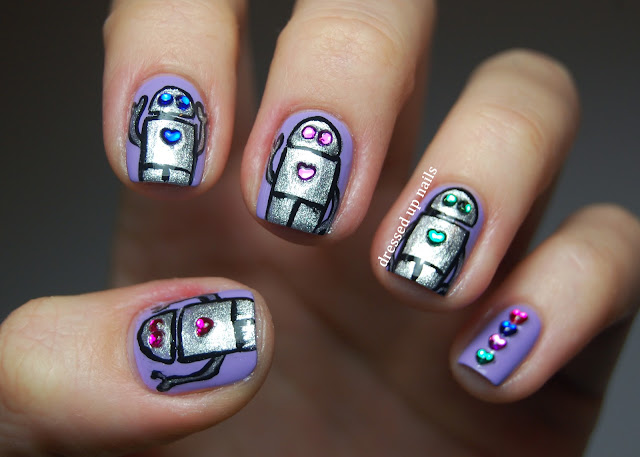 Dressed Up Nails - robot and rhinestone nail art