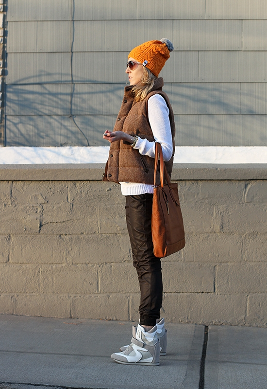 The Wind of Inspiration Outfit of the Day  Post - Tweed Vest, Leather Pants, Wedge Sneakers (Madewell Sweater, Rugby by Ralph Lauren Vest, Asos Leather Pants, Report Tao Wedge Sneakers, Ralph Lauren Bag, Black Diamond Beanie, Marc by Marc Jacobs Aviator Sunglasses, Kenneth Cole New York Watch, Forever21 Leaf Friendship Bracelet, New York Color 270 Sidewalkers Nail Polish)