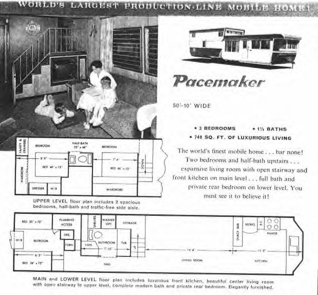 Pacemaker Trailer Ad For The New 2 Story Mobile Home 1960s Even Had A Big Screen TV Built In