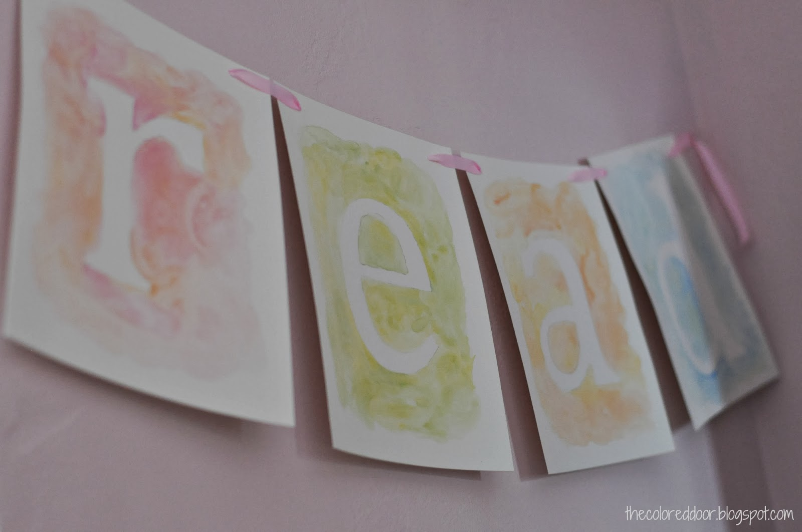 water color letters - the colored door