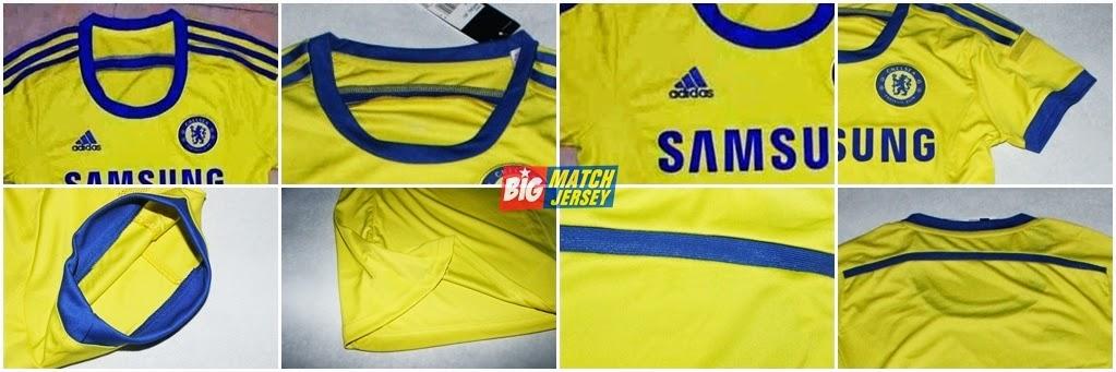 Detail Baju Kaos Couple atau Pasangan Kostum Jersey Bola Chelsea Terbaru 2015 Away Warna Kuning Cewe