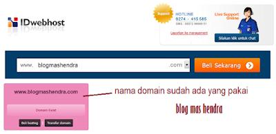Tampilan Nama Domain yang Sudah Tersedia - Blog Mas Hendra