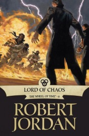 Cover of Lord of Chaos, featuring a line of black-coated men wielding fire in their hands as an army charges towards them.