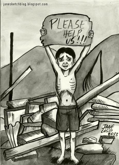 Dibujo en tinta china para campaña para ayudar a los filipinos