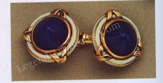 Above right, a pair of blue chalcedony cufflinks mounted in red and yellow golds, enameled opaque white with ribbon ties.