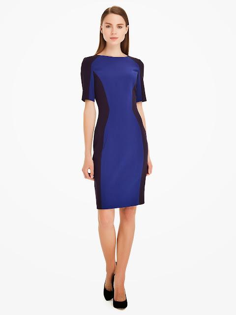 blok renk mavi siyah 2014 elbise modeli ipekyol