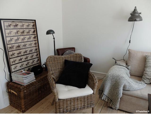 déco salon appartement danois scandinave lampe industrielle fautreuil club cuir