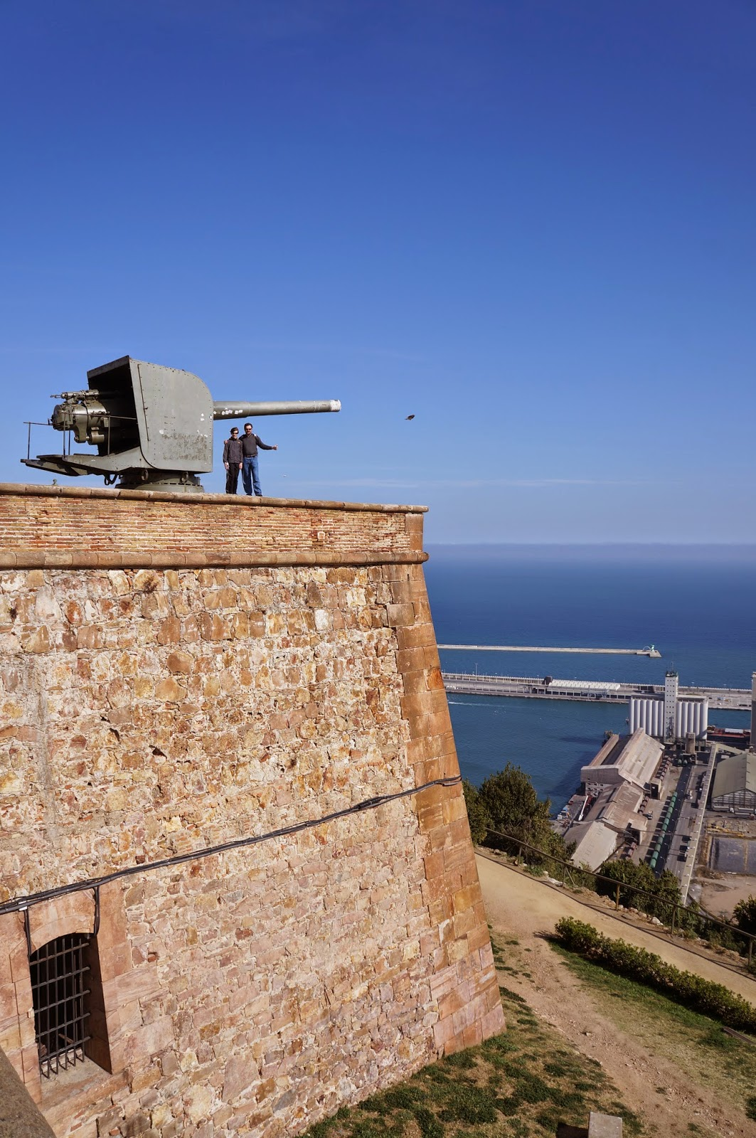 Big cannon on Montjuic Castell / Castle in Barcelona Spain.