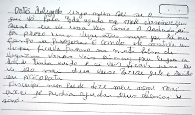 Carta enviada para PC (Foto: Hora Exata)