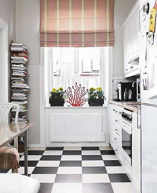 Baños Estilo Ajedrez:En primer lugar, en cocinas, combinado con blanco:
