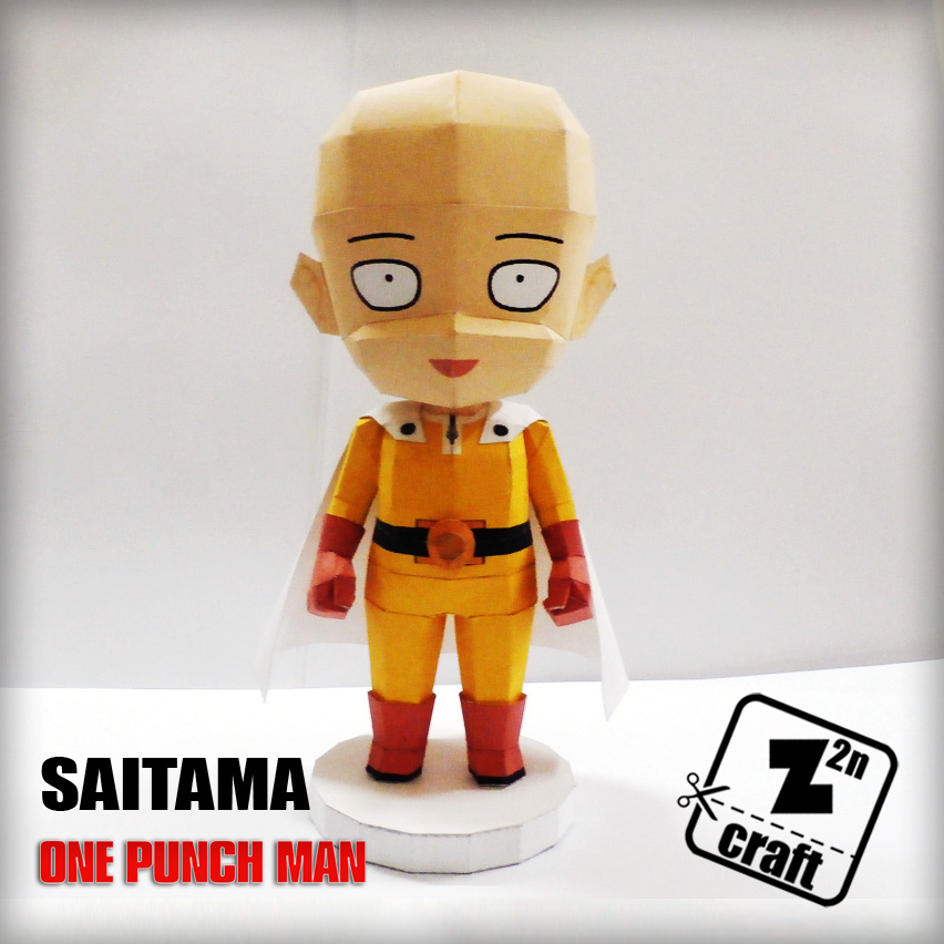 You Can Download Saitama Papercraft Here Or Without Folding Lines Template