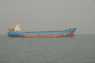 Freighter in the Pearl River estuary in China