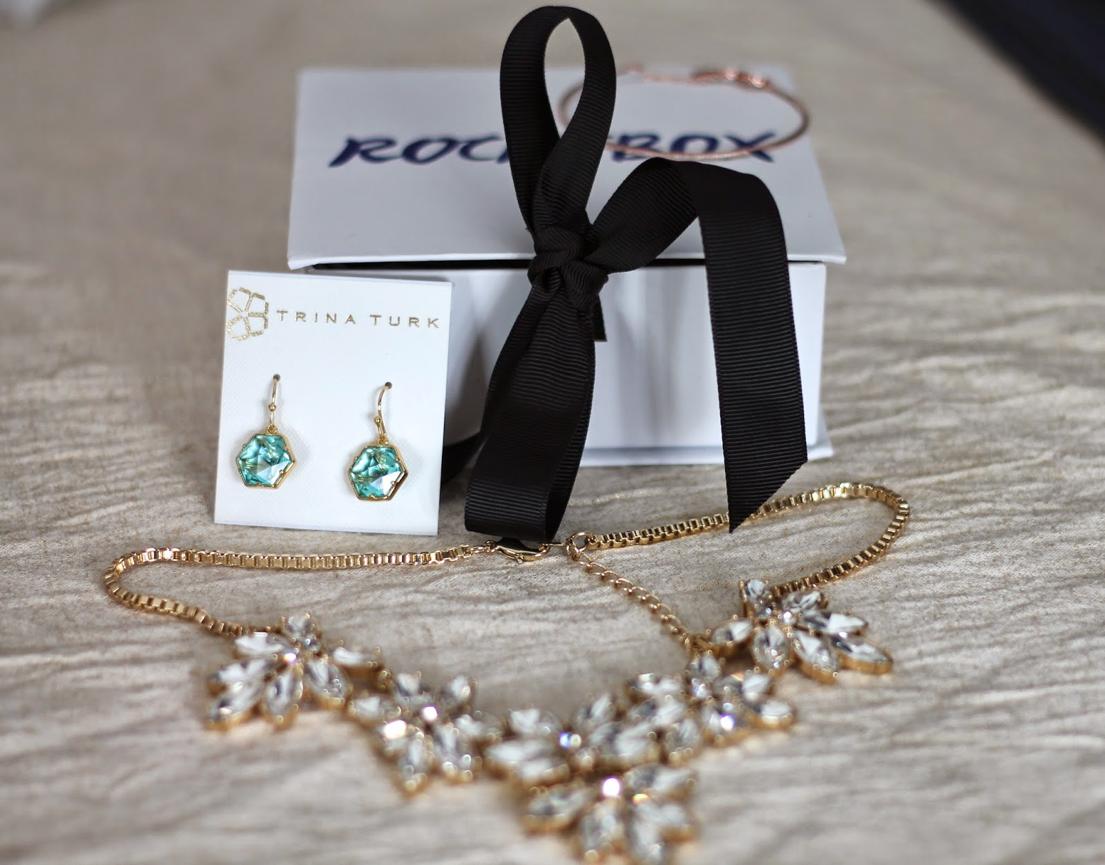Rocksbox, crystal necklace, Trina Turk earrings
