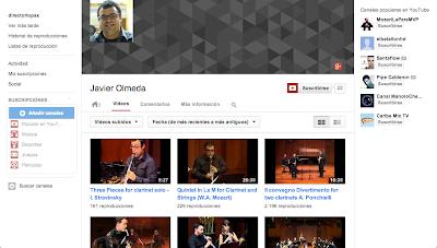 Canal YouTube Javier Olmeda...Canal donde podeis ver videos de piezas importantes escritas para un instrumento tan maravilloso como es el Clarinete! Piezas de Mozart, Dvorak, Stravinsky, etc..