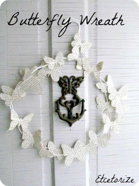 Butterfly Wreath, Paper wreath, bookpage butterfly