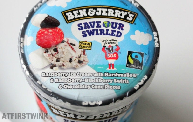 Pint of Ben & Jerry's Save our swirled | raspberry ice cream with marshmallow and raspberry-blackberry swirls and chocolatey cone pieces