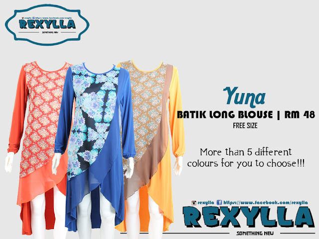 rexylla, long blouse, batik, yuna collection