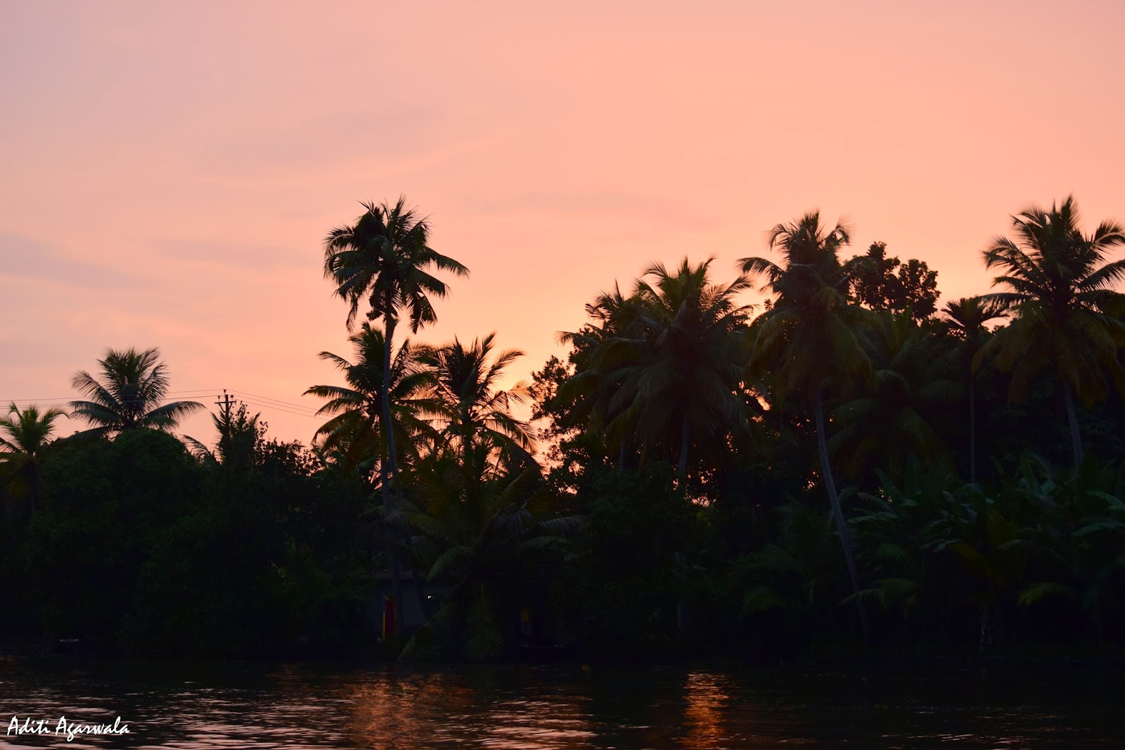 Sunset in the backwaters of Allepey, Kerala