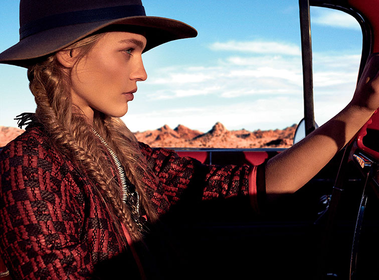 Sasha Pivovarova photographed by Mikael Jansson, styled by Tabitha Simmons for Vogue US February 2014, fishtail braids, boho chic luxe nomad