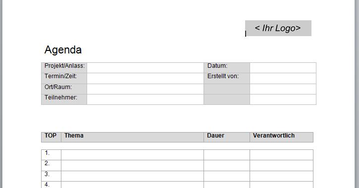 Tolle Vorlage Einer Agenda Fotos - Entry Level Resume Vorlagen ...