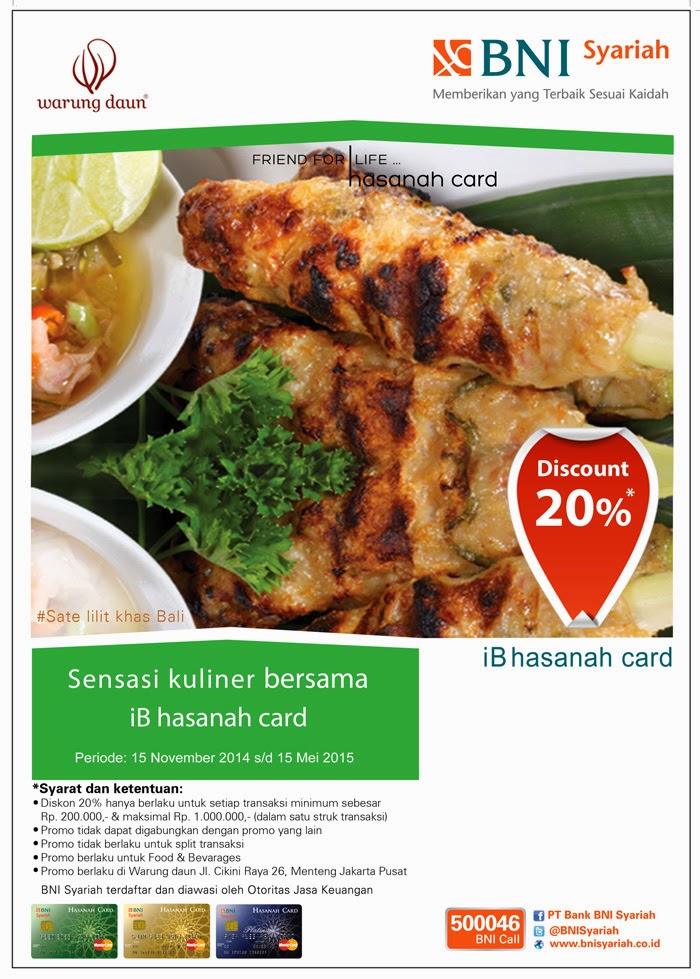 Nikmati sensasi kuliner di warung daun restaurant dengan iB hasanah card