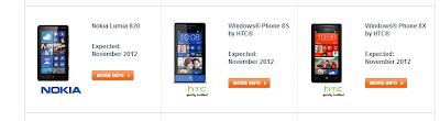 Nokia Lumia 820 HTC 8X HTC 8S pre-orders