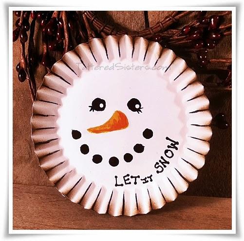 Primitive Candle Pan Snowman Ornie