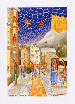 Durham Christmas cards Unusual Giraffe Greeting Cards by UK artist Ingrid Sylvestre Durham Goes Giraffe at Christmas