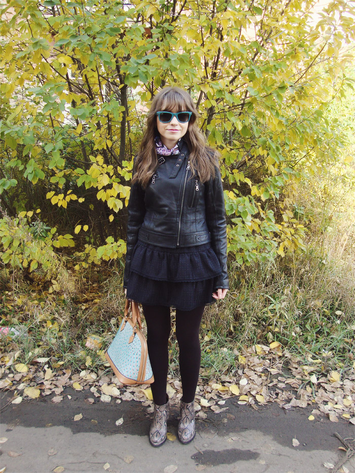 LIVE 2013, Outfit, Tanners Avenue, Jacket, Leather Jacket, Skirt, Handmade, Shoes, Jeffrey Campbell, Bag, Nucelle, Sunglasses, Ray-Ban, Scarf