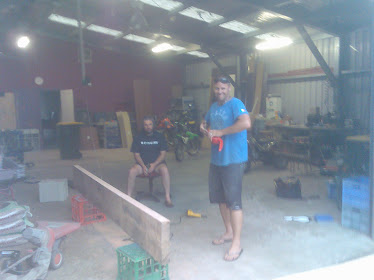 Pete my brother inlaw helping me to make the front door 5x 3'(75mm) pieces of silky oak